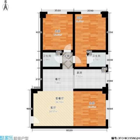 金帝世纪城2室1厅2卫1厨115.00㎡户型图