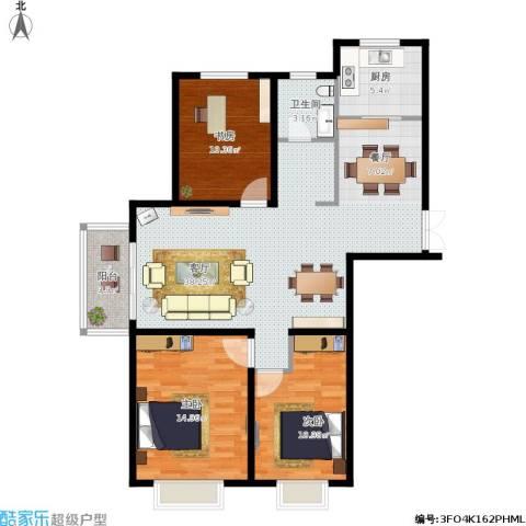 SK新城3室1厅1卫1厨121.00㎡户型图