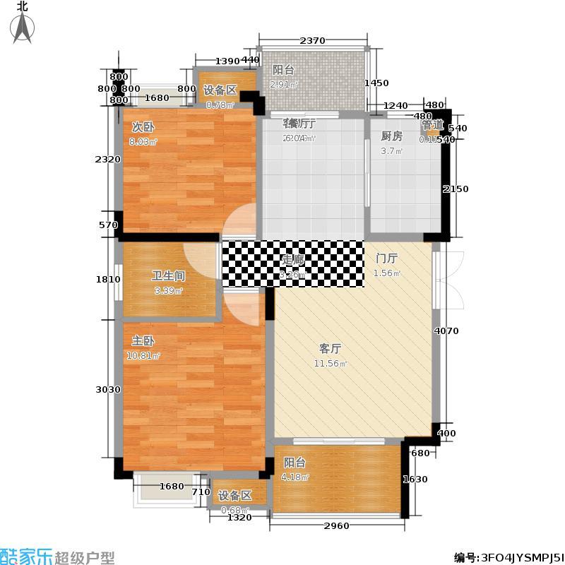 千山米兰郡72.37㎡二期一号楼标准层A1户型