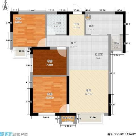 中海国际社区3室0厅1卫1厨95.00㎡户型图