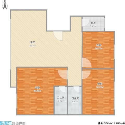 河畔明珠3室1厅2卫1厨214.00㎡户型图