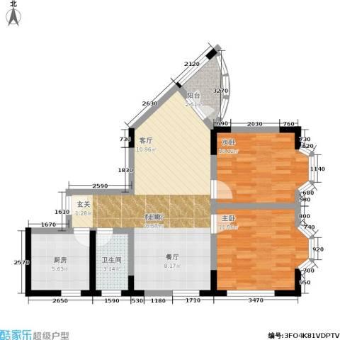 金色港湾2室1厅1卫1厨70.00㎡户型图