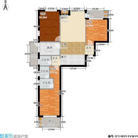 东方新天地花园3室1厅3卫1厨135.00㎡户型图
