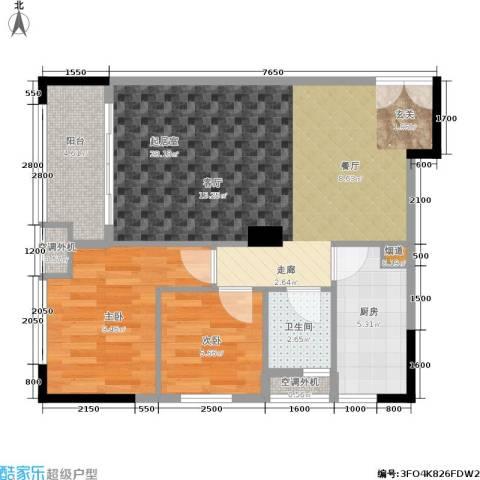 西城楼华府2室0厅1卫1厨81.00㎡户型图