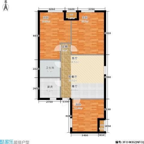 东方新天地花园3室1厅1卫1厨134.00㎡户型图