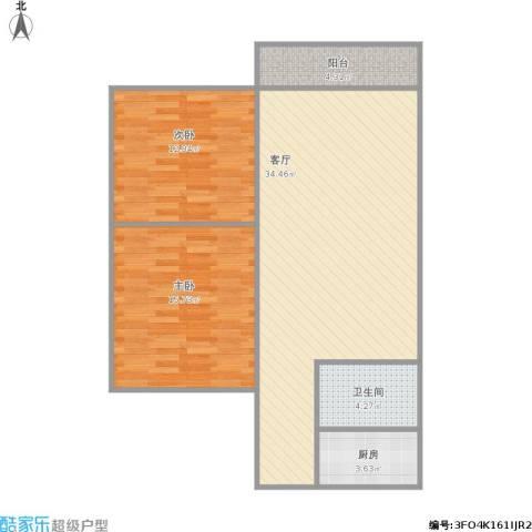 华景花园2室1厅1卫1厨101.00㎡户型图