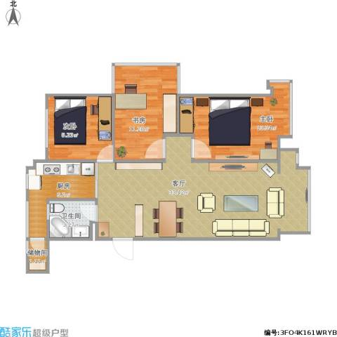 中铁・人杰水岸3室1厅1卫1厨138.00㎡户型图