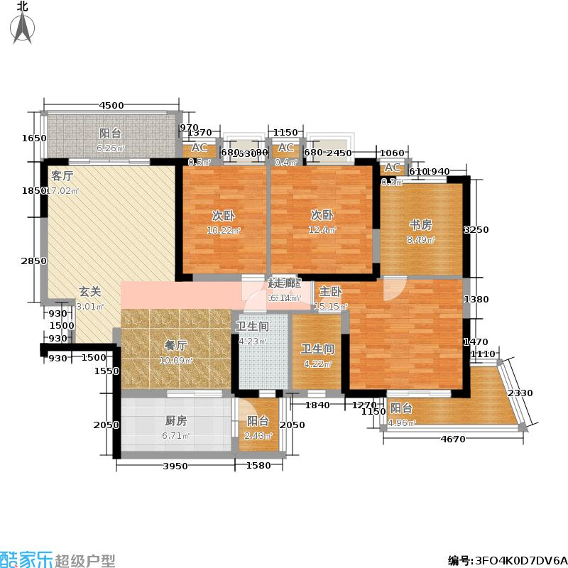 锦城世家147.84㎡一期一批次8号楼标准层E户型