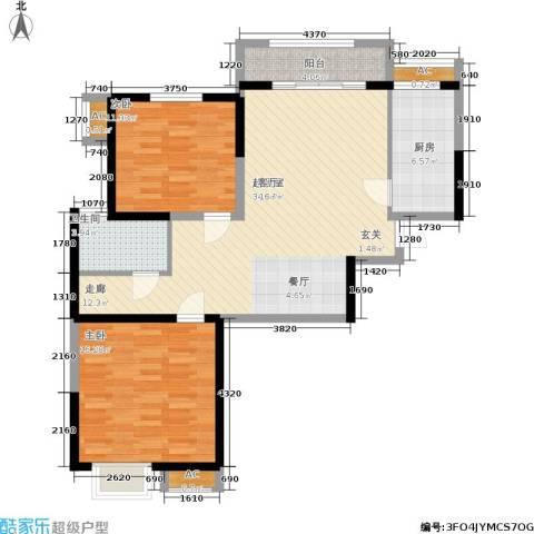 辰宇世纪城2室0厅1卫1厨91.00㎡户型图