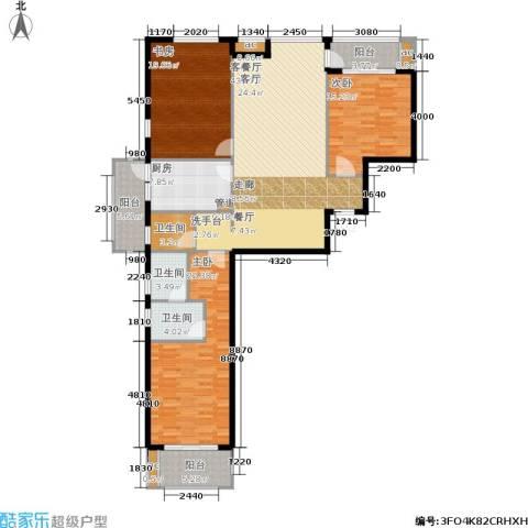 东方新天地花园3室1厅3卫1厨188.00㎡户型图