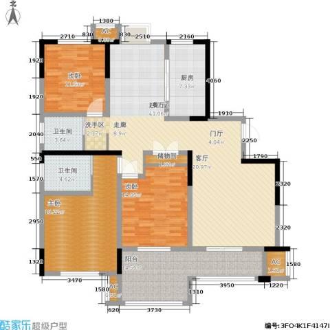 水岸豪庭东苑3室0厅2卫1厨180.00㎡户型图