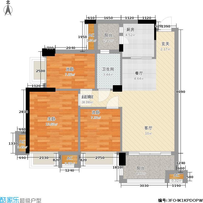 幸福湾89.00㎡1栋03单位户型3室2厅