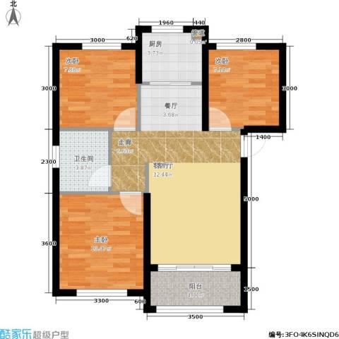 大连港天下粮仓3室1厅1卫1厨95.00㎡户型图