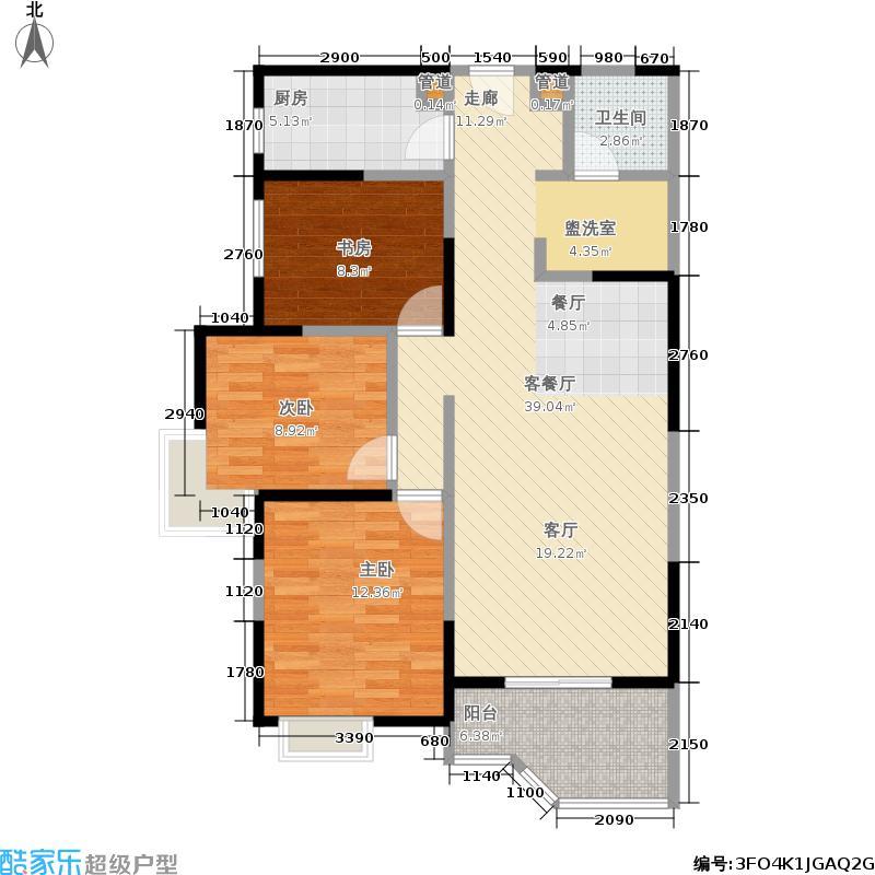 华清学府城106.64㎡28号楼A2户型3室2厅