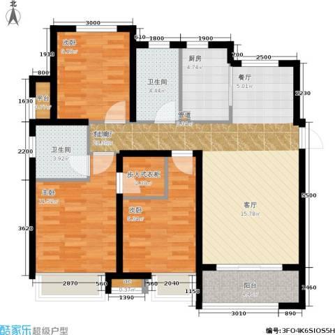 大连港天下粮仓3室1厅2卫1厨110.00㎡户型图