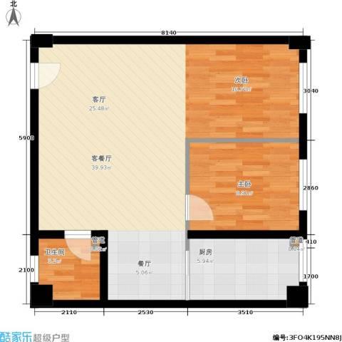 金帝世纪城1室1厅1卫1厨81.00㎡户型图
