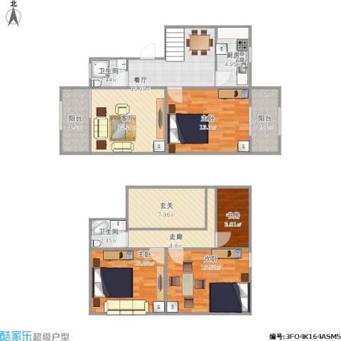 现代明珠新城・加州国际4室2厅2卫1厨134.00㎡户型图