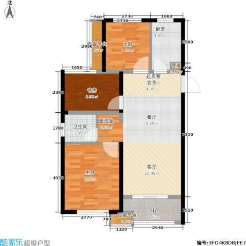 绿地香树花城3室0厅1卫1厨88.00㎡户型图
