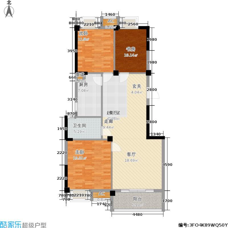 泰兴新能源水木清华110.00㎡新能源水木清华4#110平米 三房两厅一卫户型