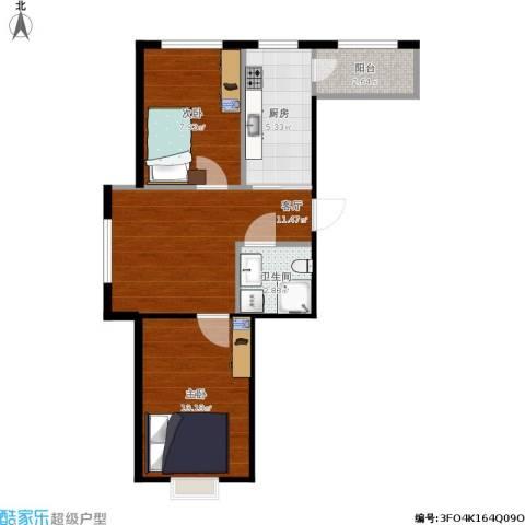 格兰云天2室1厅1卫1厨56.00㎡户型图