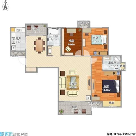 滨湖香江龙韵3室1厅2卫1厨139.00㎡户型图