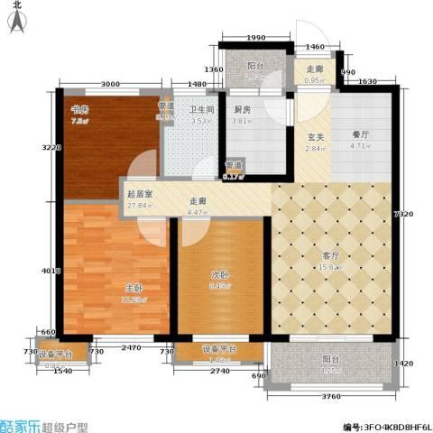 绿地香树花城3室0厅1卫1厨93.00㎡户型图