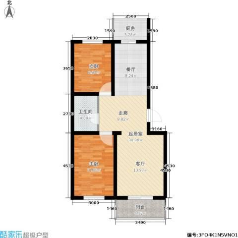 繁兴花苑2室0厅1卫1厨91.00㎡户型图