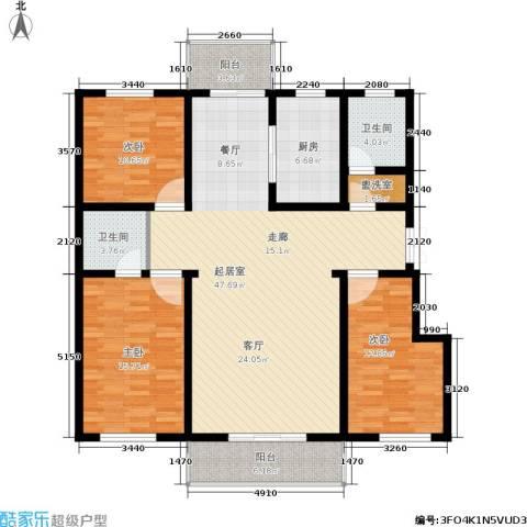 繁兴花苑3室0厅2卫1厨161.00㎡户型图