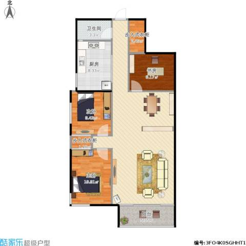 阳光花园3室1厅1卫1厨121.00㎡户型图