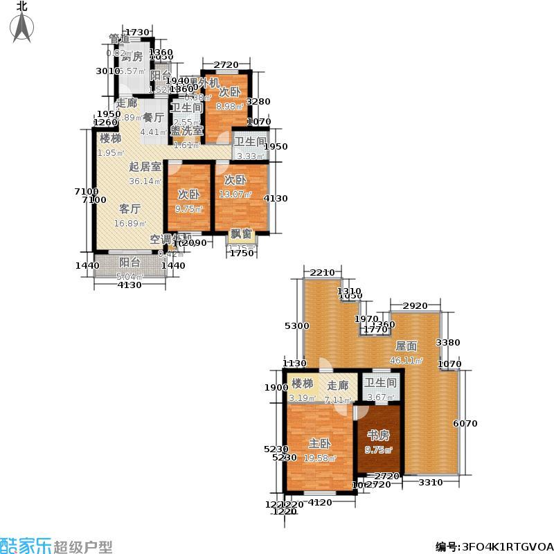 韩建雅苑196.99㎡三期28号楼D2户型4室3厅