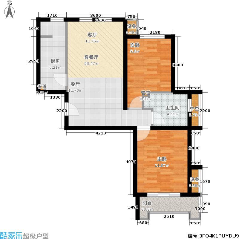 建邦华庭89.00㎡A1户型2室2厅