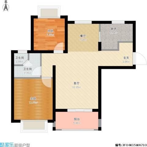 仙林国际花园2室1厅2卫1厨94.00㎡户型图