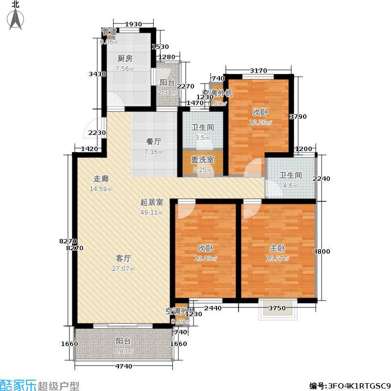 韩建雅苑134.95㎡三期28号楼D1户型3室2厅