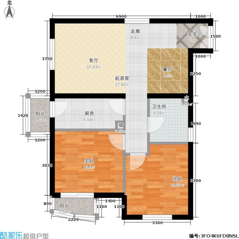 天洋城89.90㎡二期F8两室两厅一卫户型