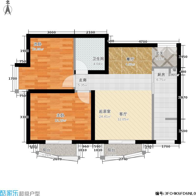 天洋城89.60㎡二期F7两室两厅一卫户型