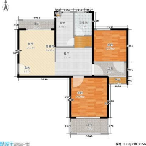 中信和平家园2室1厅1卫1厨89.00㎡户型图