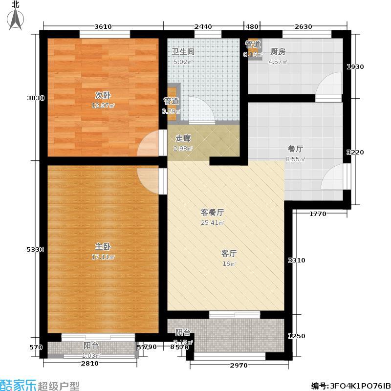 绿地中央广场云谷80.00㎡11#C-1户型2室2厅
