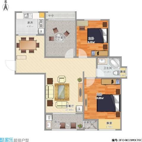 滨湖香江龙韵2室1厅1卫1厨104.00㎡户型图