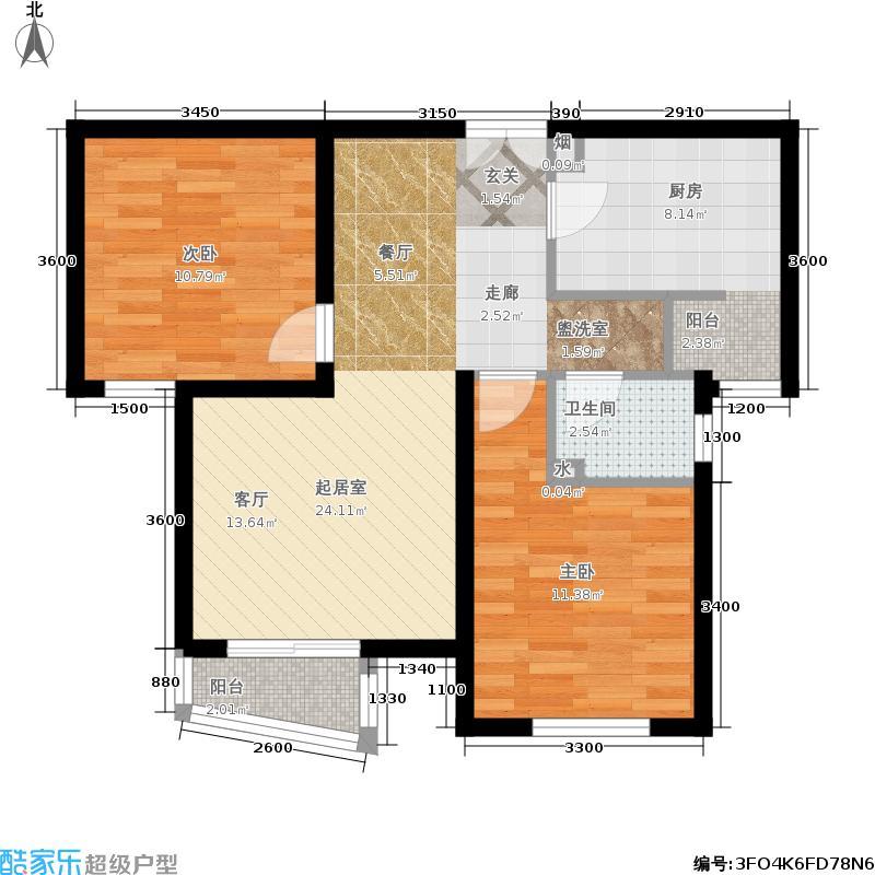 天洋城87.80㎡二期F3两室两厅一卫户型