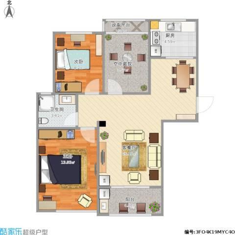 滨湖香江龙韵2室1厅1卫1厨95.00㎡户型图