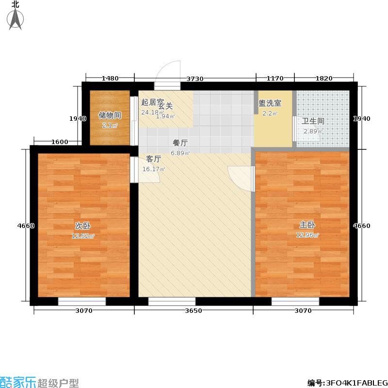 融升天天向上81.00㎡高层3、5号楼标准层户型