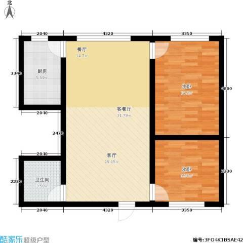 帝豪天成2室1厅1卫1厨74.00㎡户型图