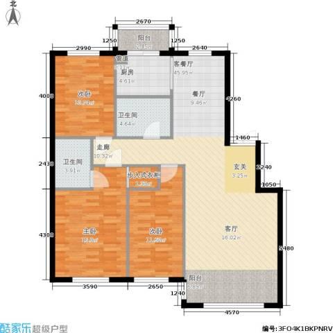 香山美墅3室1厅2卫1厨140.00㎡户型图