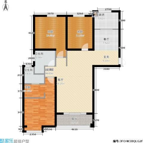新兴国际文教城3室0厅2卫1厨130.00㎡户型图