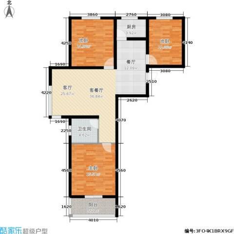 旭阳幸福里3室1厅1卫1厨131.00㎡户型图