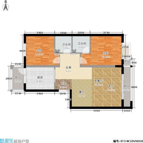 曼哈顿水岸公馆2室1厅2卫1厨118.00㎡户型图