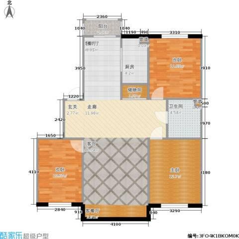 香山美墅3室1厅1卫1厨123.00㎡户型图
