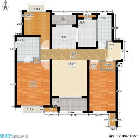 万科中环国际城海上传奇2室1厅2卫1厨125.00㎡户型图