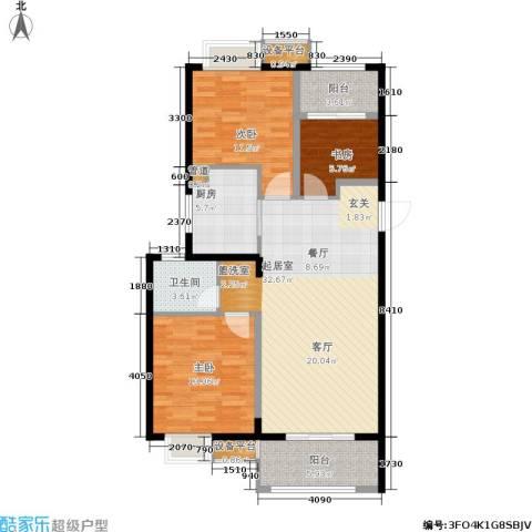 南通华润中心3室0厅1卫1厨95.00㎡户型图