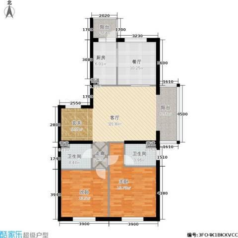 锦湖・金色世家2室2厅2卫1厨135.00㎡户型图